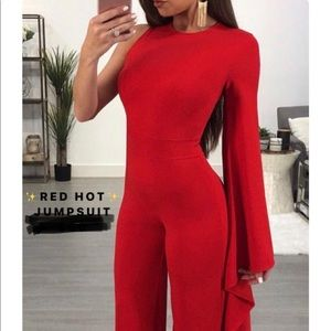 One shoulder, red hot jumpsuit